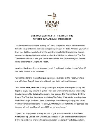 give your dad five star treatment - Lough Erne Resort