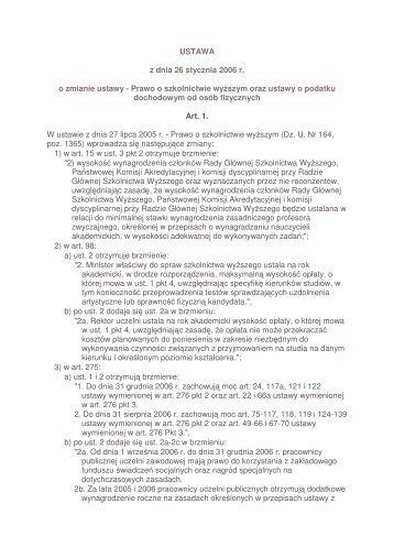 USTAWA z dnia 26 stycznia 2006 r. o zmianie ustawy ... - BIP MEN