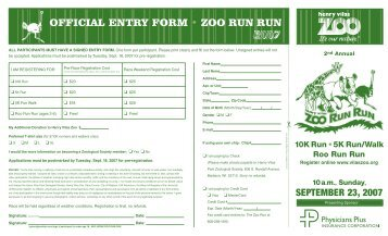 OFFICIAL ENTRY FORM • ZOO RUN RUN - Henry Vilas Zoo
