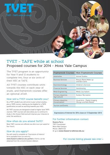 TVET - TAFE while at school - TAFE Illawarra