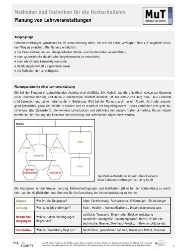 Planung von Lehrveranstaltungen - StudiFIT
