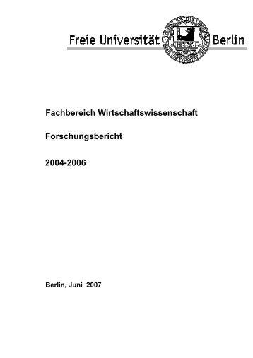 Fachbereich Wirtschaftswissenschaft Forschungsbericht 2004-2006