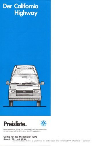 Der California Highway Preisliste. - VW Westfalia T4 Transporter Info ...