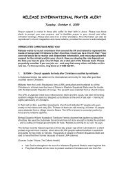 Prayer Alert - 6 October 2009 - Release International