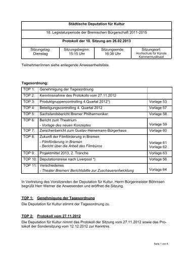 Protokoll städtisch 26 02 2013 - Senator für Kultur - Bremen