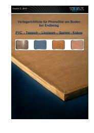Verlegerichtlinie PhoneStar am Boden - PVC-Teppich ... - Wolf Bavaria