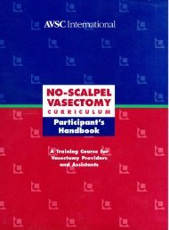 No Scalpel Vasectomy Curriculum Participant's Handbook - State ...