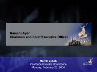 Ramani Ayer Chairman and Chief Executive Officer - The Hartford