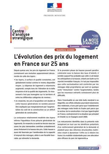 L'évolution des prix du logement en France sur 25 ans - Centre d ...