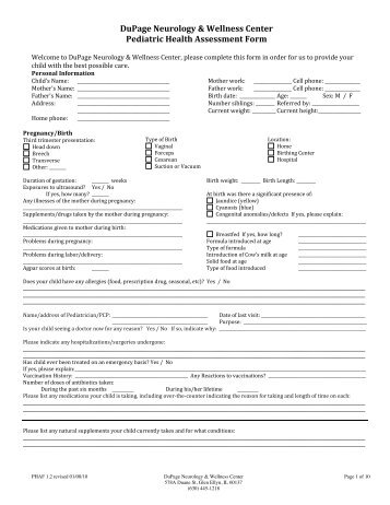 Health Assessment Form-Female (PDF) - DuPage Neurology ...