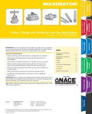 Valves, Fittings and Tubing for Sour Gas Applications