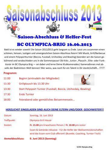 Klub-Event 2013 Einladung, ma - BC OLYMPICA-BRIG
