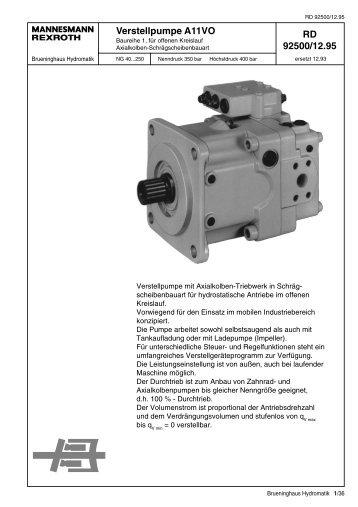 RD 92500/12.95 Verstellpumpe A11VO - Group VH A/S