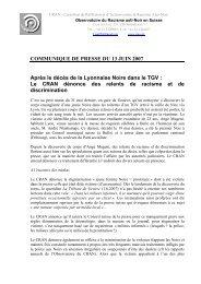 COMMUNIQUé DE PRESSE - CRAN (Carrefour de Réflexion et d'action ...