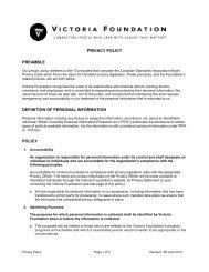 Privacy Policy - Victoria Foundation