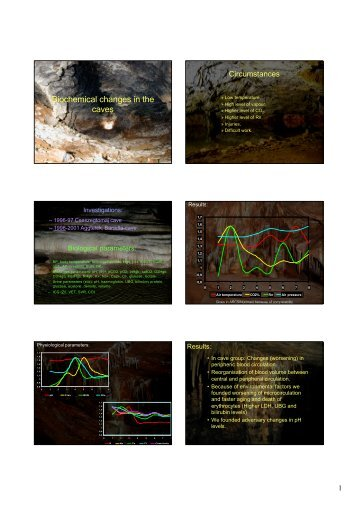Biochemical changes in the caves