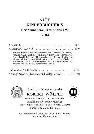 ALTE KINDERBÜCHER X ROBERT WÖLFLE - Antiquariat Robert ...