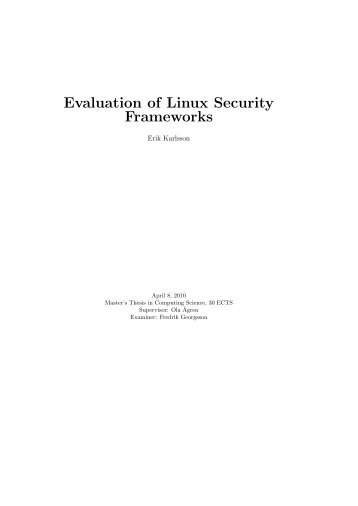 Evaluation of Linux Security Frameworks - Department of Computing ...
