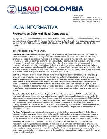 Programa de Gobernabilidad Democrática - Embajada de Los ...
