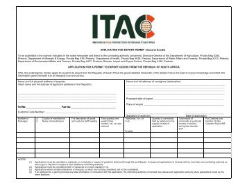 APPLICATION FOR EXPORT PERMIT (General Goods)