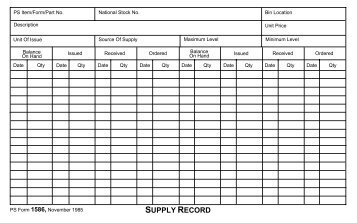 PS Form 1586, Supply Record - NALC Branch 78