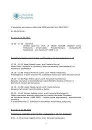 II workshop seminarium doktorskie CSNE semestr letni 2012/2013 ...
