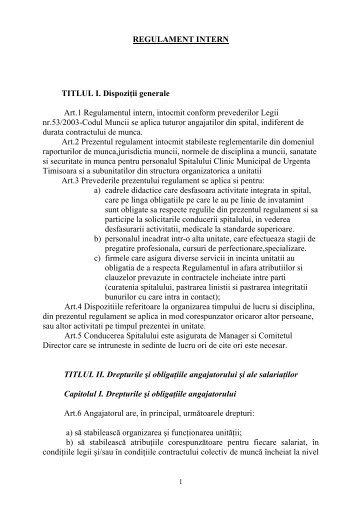 REGULAMENT INTERN TITLUL I. Dispoziţii generale Art.1 ...