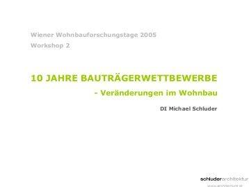 dokumentation - vergleich - analyse - wiener wohnbau forschung