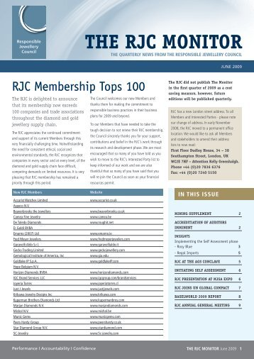 Newsletter June 2009 - Responsible Jewellery Council