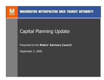Captial Planning Process  Presentation - WMATA