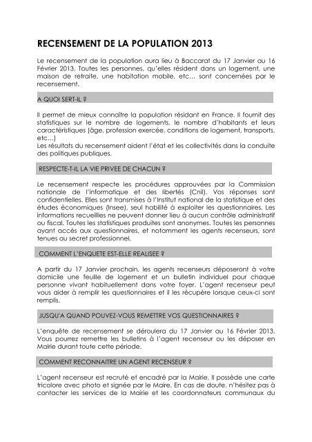ARTICLE RECENSEMENT - Baccarat