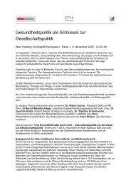 Gesundheitspolitik als Schlüssel zur ... - Wien Holding