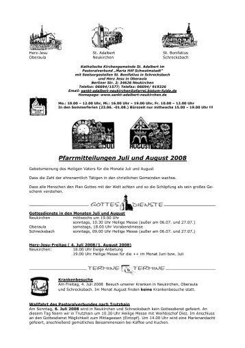 Pfarrmitteilungen Juli und August 2008 - St. Adalbert, Neukirchen