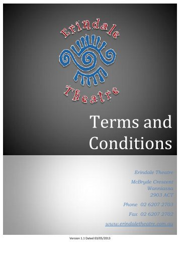 Terms and Conditions - Erindale Theatre
