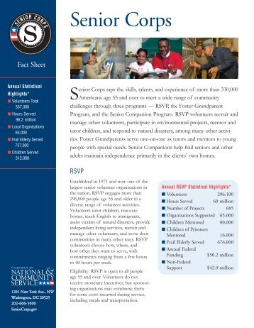 Senior Corps Fact Sheet - Corporation for National and Community ...