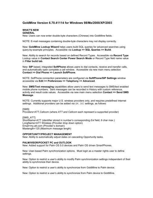 GoldMine 6 7 - FrontRange Support