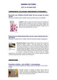 AGENDA CULTUREL du 8 au 15 octobre 2012 - Lycée Lyautey