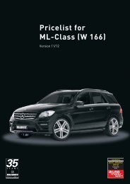 Pricelist for ML-Class (W 166) - Lenartowicz