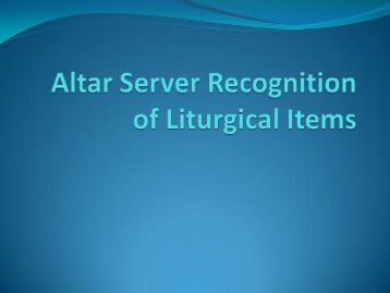 Altar Server Recognition of Liturgical Items