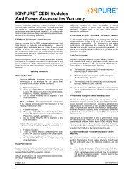 IONPURE CEDI Modules And Power Accessories Warranty - Siemens