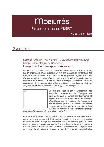 Téléchargez le 111ème numéro de Mobilités.pdf - Gart