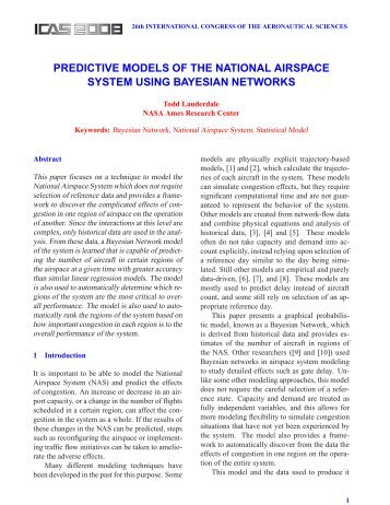 predictive models of the national airspace system using bayesian ...