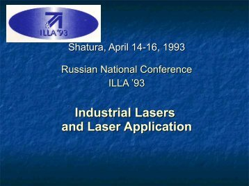 Industrial Lasers and Laser Application