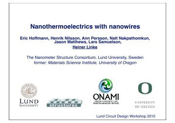 Nanothermoelectrics - Lund Circuit Design Workshop