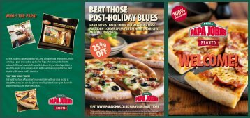 hand in this leaflet when you make your first papa john's