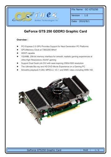 GeForce GTS 250 GDDR3 Graphic Card - Aether.com.tw