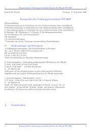 Kommentiertes Vorlesungsverzeichnis WS 0607 - Institut fuer Physik