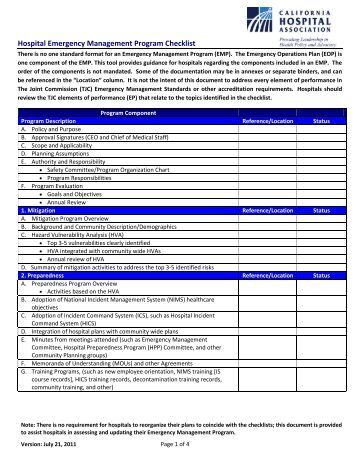 Risk management plan audit program site visit checklist for Hospital action plan template