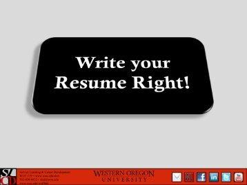 A Resume… - Western Oregon University