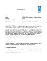Project Manager Project - UNDP Trinidad and Tobago